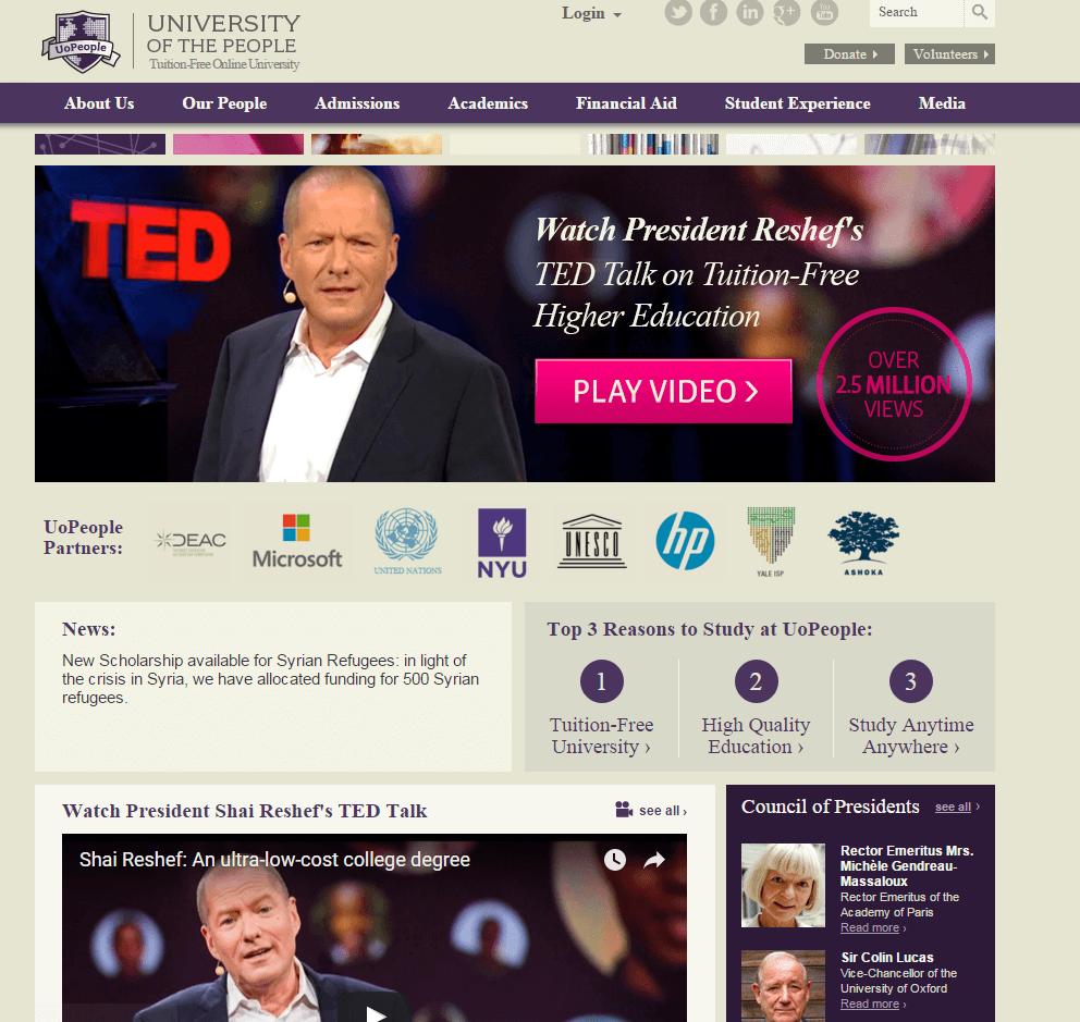 Univeristy of the Peopleのホームページキャプチャ