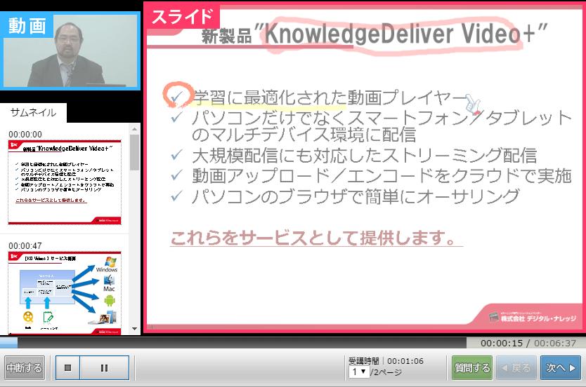 講師を映す小画面と黒板やスライドを模した大画面とを配置した動画